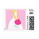 Bride with Pink Flowers Postage Stamp - I