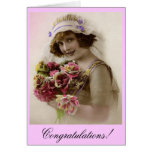 Bride with Rose bouquet Greeting Cards