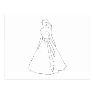 Bride With Wavy Hair Postcards