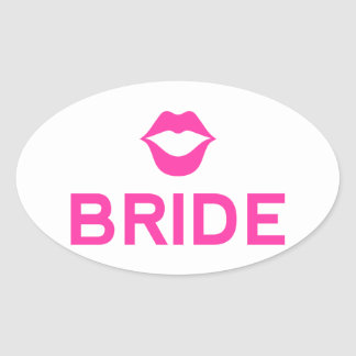 Bride word art with pink lips for t-shirt oval stickers