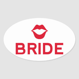 Bride word art with red lips for t-shirt sticker