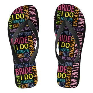Bride Words Flip Flops