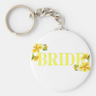 Bride yellow basic round button keychain