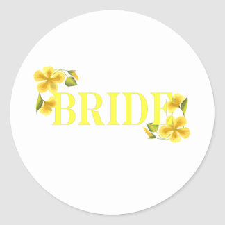 Bride yellow classic round sticker