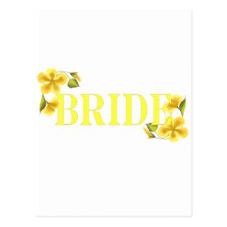 Bride yellow postcard