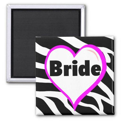 Bride Zebra Stripes 2 Inch Square Magnet