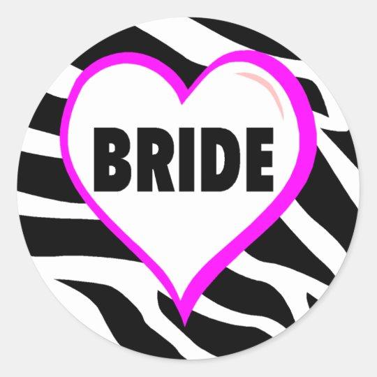 Bride (Zebra Stripes) Classic Round Sticker