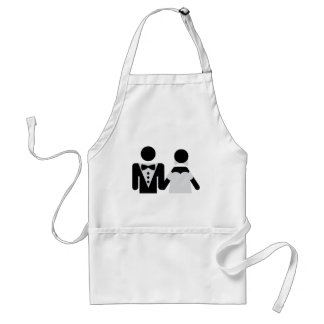 bridegroom and bride marriage icon adult apron