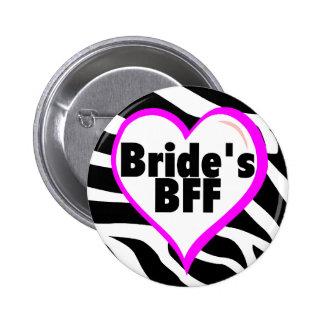 Brides BFF (Heart Zebra Print) 2 Inch Round Button