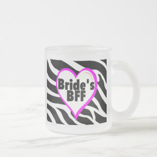 Brides BFF (Heart Zebra Print) Frosted Glass Coffee Mug