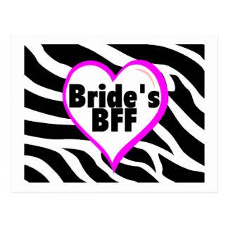 Brides BFF (Heart Zebra Print) Post Card