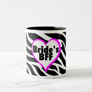 Brides BFF (Heart Zebra Print) Two-Tone Coffee Mug