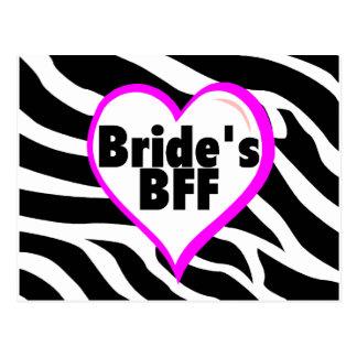 Brides BFF (Heart Zebra Stripes) Postcard