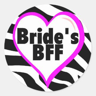 Brides BFF (Heart Zebra Stripes) Sticker