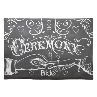 Bride's Chalkboard Modern Vintage Typography Cloth Placemat