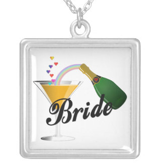 Brides Champagne Toast Silver Plated Necklace