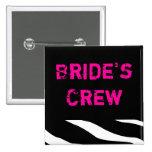 Brides Crew 2 Inch Square Button