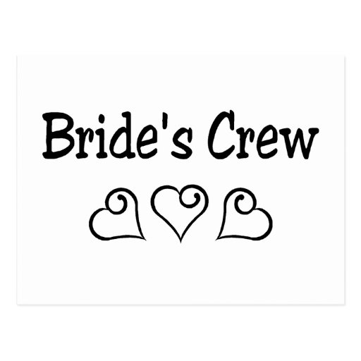 Brides Crew Black Hearts Postcard