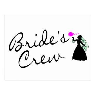 Brides Crew (Bride Blk) Postcard