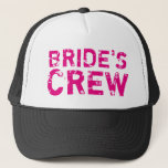 "BRIDES CREW vintage bachelorette party trucker hat<br><div class=""desc"">BRIDES CREW vintage bachelorette party trucker hats. Cute faded text black caps with custom text for team bride and bride&#39;s entourage. Fun gag accessory for wedding group, marriage, girls night out, girls weekend trip etc. Make your own props for bride to be, bridesmaids, maid of honor, groomsmen, security etc. Neon...</div>"