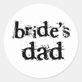 Bride's Dad Black Text Round Sticker