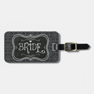 Bride's Damask Blackboard Luggage Tag
