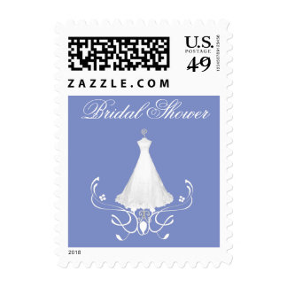 Bride's Dress Blue & White Stamps