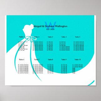 Bride's Dress Wedding Seating Chart