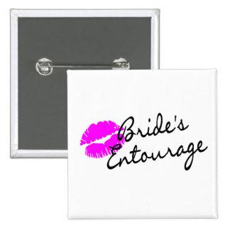 Brides Entourage (Kiss) 2 Inch Square Button