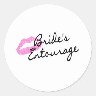 Brides Entourage Lips Classic Round Sticker