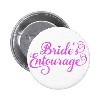 Brides Entourage, pink word art, text design 2 Inch Round Button