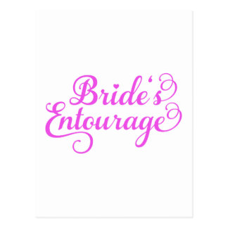 Brides Entourage, pink word art, text design Postcard