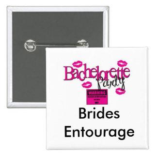 Brides Entourage Square Button WHITE