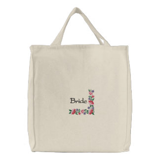 Bride's Floral Border Wedding Carry All Embroidered Tote Bag