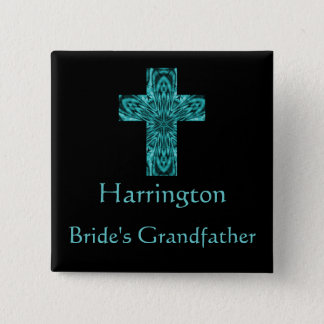 """Bride's Grandfather"" - Aqua Fractal Cross Button"