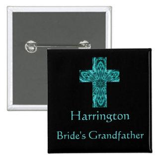 """""""Bride's Grandfather"""" - Aqua Fractal Cross Buttons"""