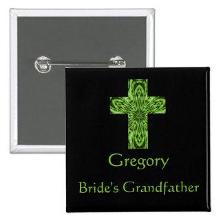 """Bride's Grandfather"" - Green Fractal Cross Pinback Button"