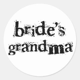Bride's Grandma Black Text Classic Round Sticker