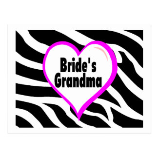 Brides Grandma (Heart Zebra Print) Postcard