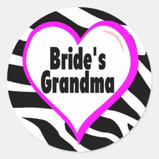 Brides Grandma (Heart Zebra Stripes) Classic Round Sticker