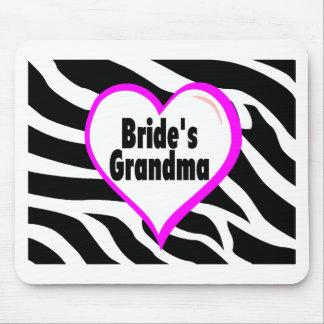 Brides Grandma (Heart Zebra Stripes) Mousepads