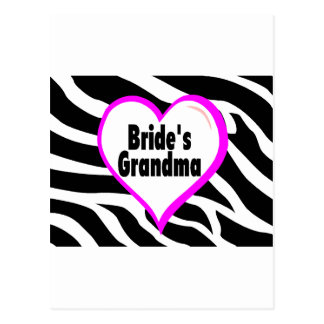 Brides Grandma (Heart Zebra Stripes) Postcard