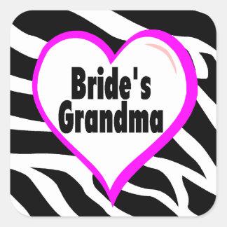 Brides Grandma (Heart Zebra Stripes) Square Sticker