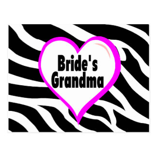 Brides Grandma Zebra Stripes Postcard
