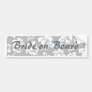 Bride's Hawaiian White Flower Bumper Stickers