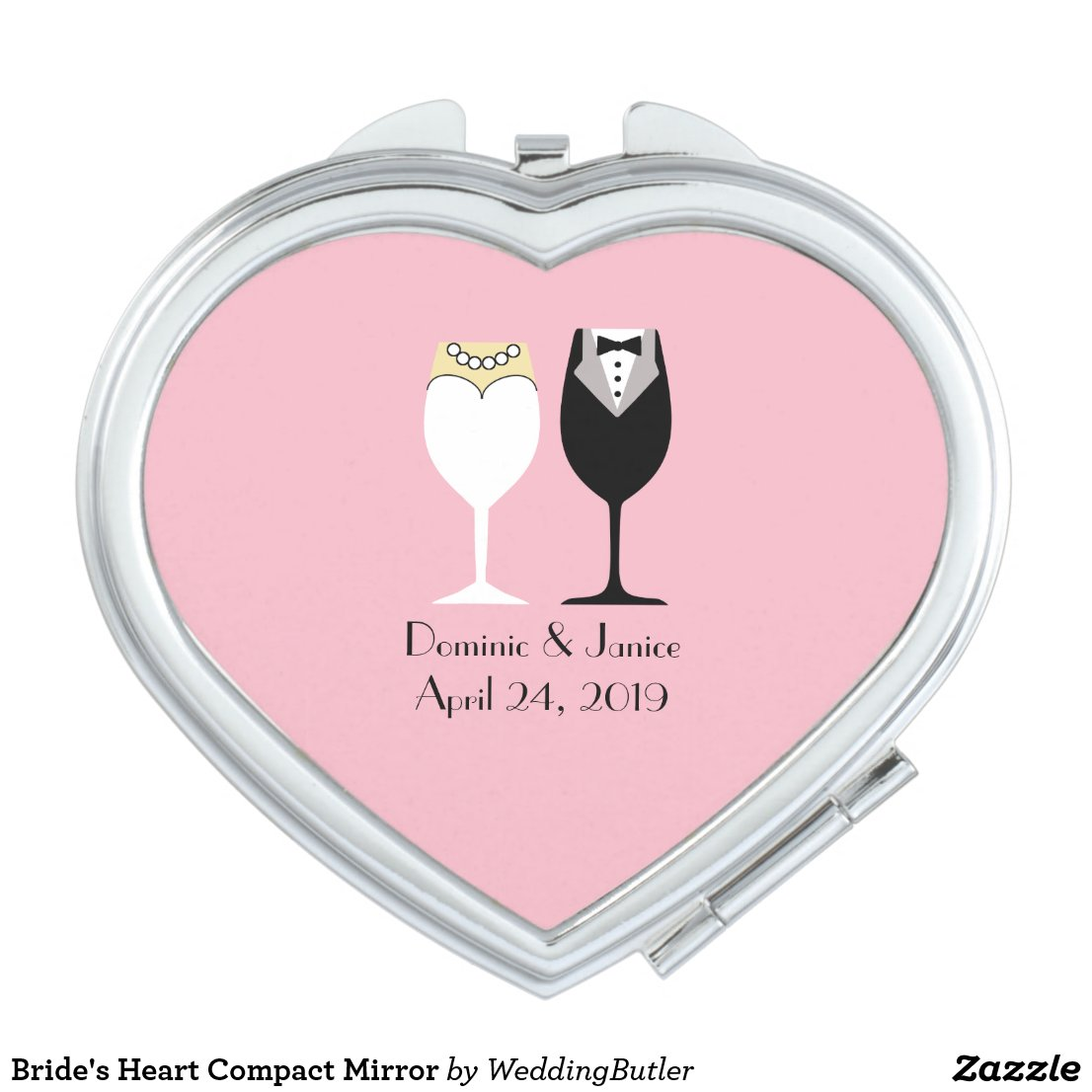 Bride's Heart Compact Mirror