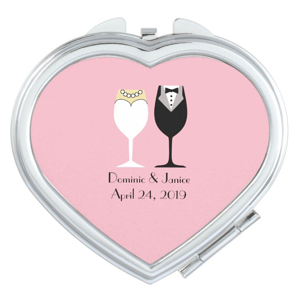 Bride's Heart Compact Mirror