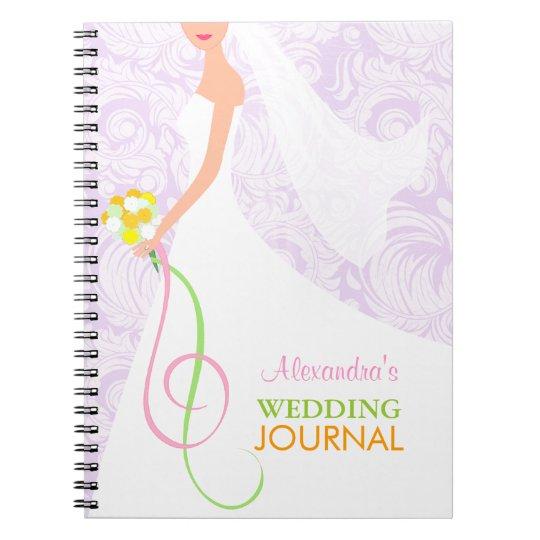 Bride's Lavender Damask Wedding Journal Notebook