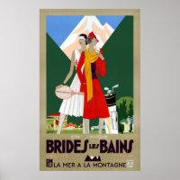 Brides Les Bains France Vintage Travel Poster