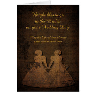Brides Lit by Love Lesbian Wedding Card